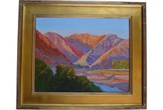 A beautiful California plein air painting of Sespe Canyon at sunset. Signed in lower left by California artist Ray Cuevas.