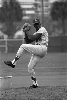 St. Louis Cardinal pitcher Bob Gibson at spring training. 1969