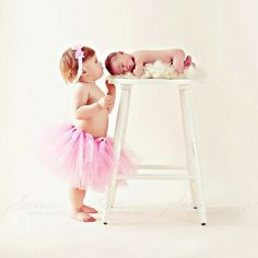 Love this pose with big sister: newborn, sibling by sharon