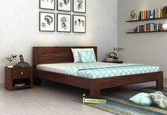Buy Denzel Bed without Storage crafted with Sheesham Wood Online in India, Get Wooden Bed without Storage (Queen Size, Walnut Finish) @ Wooden Street Simple Bed Designs, Bed Designs With Storage, Double Bed Designs, Modern Bedroom Furniture, Contemporary Bedroom, Bed Furniture, Furniture Design, Simple Furniture, Wooden King Size Bed