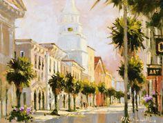 "Marilyn Simandle, ""Quiet Southern Street"" - Morris & Whiteside Galleries #peaceful #sunlit #southern #art"