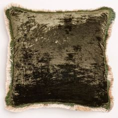 Anke Drechsel Dark Green Silk Velvet Fringe Pillow   Exclusively at ABC, a radiant silk velvet pillow is hand-dyed in a rich, deep green hue. Each artisan-crafted piece is a product of slow design and possesses an heirloom quality.