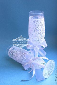 """Купить Свадебные бокалы """"Кружево"""". Точечная роспись по стеклу. - белый, бокалы для свадьбы, бокалы для молодоженов"""