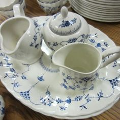 Myott by Finlandia --- 78 piece set of Myott by Finlandia. Blue pattern on white china....this is a great pattern that is pretty enough for company but can be used every day. --- $240.00