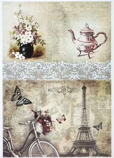 A/4 Classic Decoupage Paper Scrapbook Sheet Vintage Paris
