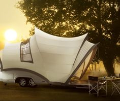 The Opera camper trailer has every conceivable luxury: electrically-adjustable beds, hot a...