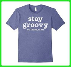 Mens Stay Groovy Or Leave Man Vintage Retro Graphic T-Shirt XL Heather Blue - Retro shirts (*Amazon Partner-Link)