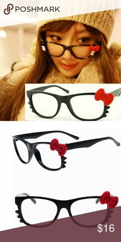 Kawaii Harajuku doll hello kitty frame glasses 1 Brand new these have no lense frames and style bow for style get that kawaii doll look with out the price tag anybody can wear these w contacts w out no lenses just fashion statement brand new black dramas w red bow peice new in packaging I will shop very carefully pack well  great for dress up fashion, photo shoots   Adorable   Fits and adult size face frame these are not children's   Kawaii doll slime Hello kitty sanrio Gwen fairy kei street…
