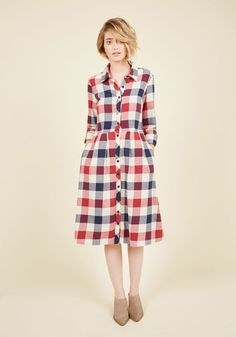 Everyone at the farmers market pauses to ponder your perfected rustic style as you man the jam stand in this buffalo plaid shirt dress! Part of our ModCloth namesake label, this flannel frock flaunts strawberry, blueberry, and vanilla hues, tab sleeves, and skirt pleats that invite second glances.