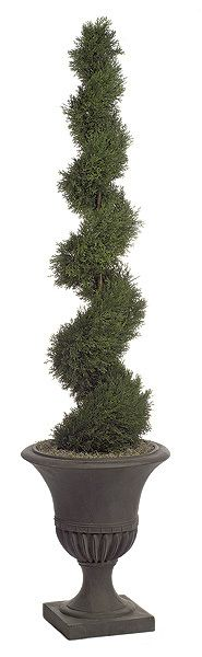 """6FT Artificial Cypress Spiral Topiary Commercial quality plant like features Stabilizing weight base included Choose between 5ft, 6ft or 10ft tall plants Plant width for 5ft plant is 12"""", width for 6ft plant is 16"""", and width for 10ft plant is 14"""" Plant Tip Count for 5ft plant is 1,492, tip count for 6ft plant is 1,808, and tip count for 10ft plant is 4,294 Weighted base included for 5ft and 6ft only. Decorative pot sold separately"""