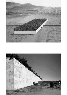 """Kersten geers david van severen.  Office 15, border crossing 2005.  """"An oblong volume provides a border crossing for pedestrians between Mexico and the US, and interrupts the endless demarcated boundary. A nine-meter high wall defines a no-man's-land between the two countries. Within the white walls a grid of palm trees imposes order on a large, shaded garden. Pavilions for passport control and administration are spread around here and there, becoming part of the garden.[...]"""