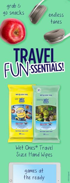 Perfect for on-the-go, Specially-Marked Wet Ones® Hand Wipes Travel Packs, featuring three of Universal Parks & Resorts™ hit attractions, are now available at local retailers. Take the adventure to another level with the Wet Ones® Ultimate Summer Vacation Sweepstakes. You could win a trip for 4 to your choice of either Universal Studios Hollywood™ or Universal Orlando Resort™. Take your pick! NoPurNec. 18+. Rules/Entry@ www.wetonesgetaway.com/officialrules.