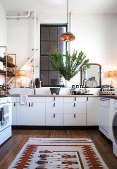 DIY Copper Kitchen Shelves Made with Parts from Home Depot — Kitchen Spotlight interior design design ideas Cocina Home Depot, Cuisine Home Depot, Home Depot Kitchen, Kitchen Interior, Home Kitchens, Copper Kitchen, Kitchen Dining, Kitchen Decor, Loft Kitchen