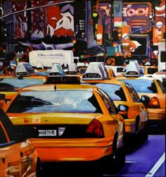 Ny time square,acrylic on canvas New York Taxi, Viera, Times Square, Canvas, Travel, Art, Tela, Voyage, Canvases