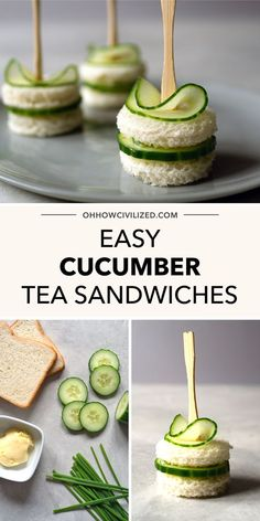These cucumber tea sandwiches with chive butter from Oh, How Civilized are a simple and savory finger sandwich you are sure to love. Whether you are looking for the perfect addition to your next afternoon tea party or just a tasty appetizer for your holiday parties, this tea sandwich is perfect. Grab this easy recipe and enjoy a delicious cucumber tea sandwich today. #teapartyfood #teasandwiches #fingersandwiches #appetizer #recipe Cucumber Tea Sandwiches, Finger Sandwiches, Tea Recipes, High Tea, Matcha, Afternoon Tea, Tea Time, Menu, Sweets