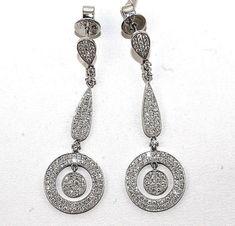 Jewellery & Watches 18K White Gold GP Black Flower Hook Earrings Lady Drop Dangle Fashion Earrings