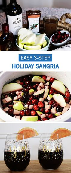 With holiday entertaining in full swing, now is the perfect time to try this easy and delicious 3-Step Holiday Sangria Recipe. Perfect for entertaining, this cocktail recipe is something all of your guests will love.