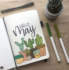Bullet Journal Monthly Cover Page May Cover Hand Lettering Cactus Drawin . - Bullet Journal Monthly Cover Page May Cover Hand Lettering Cactus Drawin – sheet # - Bullet Journal School, Planner Bullet Journal, Bullet Journal Cover Page, Bullet Journal Aesthetic, Bullet Journal Notebook, Bullet Journal Ideas Pages, Bullet Journal Spread, Bullet Journal Layout, Journal Covers