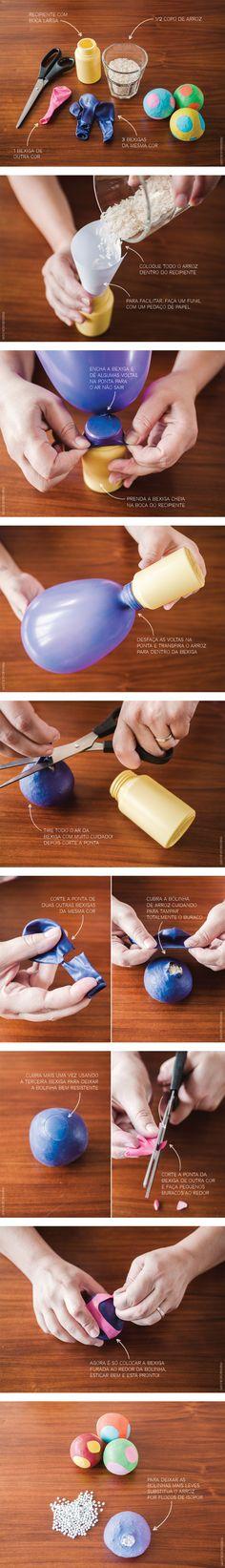 Bolinha de bexiga recheadas com diferentes materiais