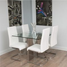 Modern white and chrome dining table stardust glass square dining shop for brushed stainless steel square glass dining table get free shipping at overstock watchthetrailerfo