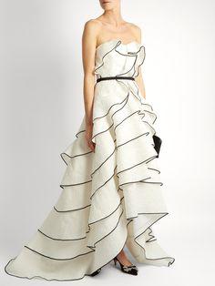 OSCAR DE LA RENTA  Tiered ruffled floral-cloqué gown