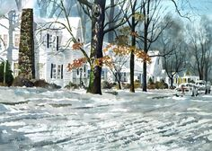 """""""Winter Blues"""" Giclee Print Available -Watercolors, Oils, Mixed Mediums by Jerry ELlis AWS"""