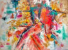 """Yvette Andino Art, original abstract painting 48x36"""" red yellow, green, fine art #ArtDecoimpressionismabstract Impressionism, Art For Sale, Art Deco, Fine Art, The Originals, History, Yellow, Green, Painting"""