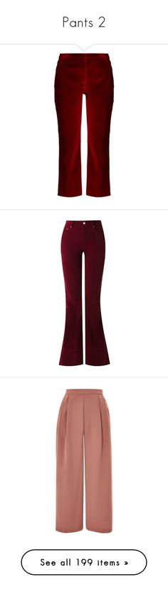 """Pants 2"" by noconfessions ❤ liked on Polyvore featuring pants, capris, burgundy, flare trousers, flare pants, burgundy pants, flared trousers, burgundy velvet pants, red and red velvet pants"