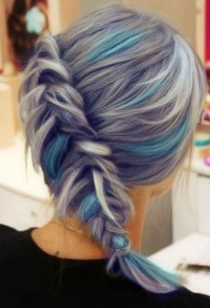 Braided Hairstyles 2018 With Grey and Blue Hair Colors