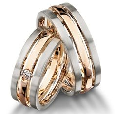 18k White/ Rose Gold 3 Row Wedding Band | Eiseman Jewels