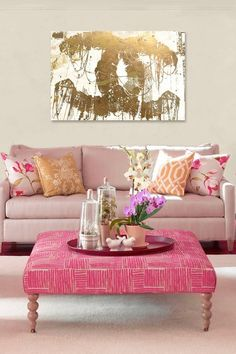 Mauve Pink and Gold Living Room featuring Oliver Gal Hey Lolita Gold Fine art Canvas by Oliver Gal