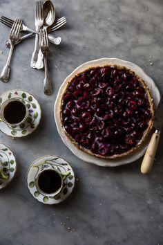 Red Wine Cherry and Mascarpone Cream Tart
