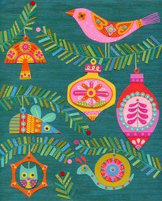 Christmas Card by Linda Solovic, via Behance Retro Christmas Decorations, Vintage Christmas Cards, Christmas Images, Christmas Design, Christmas Art, Vintage Cards, Christmas Holidays, Christmas Ornaments, Christmas Feeling