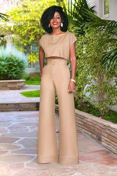 Style Pantry   Linen Crop Top + Linen High Waist Wide Legs