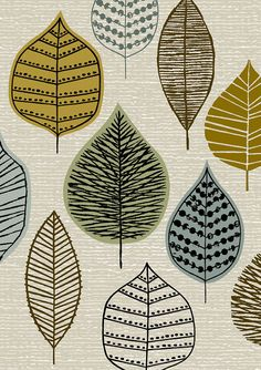 Woodland Leaves limited edition giclee print by Eloise Renouf Decoupage Vintage, Textures Patterns, Print Patterns, Zentangle, Fabric Design, Pattern Design, Pattern In Art, Surface Pattern, Surface Design