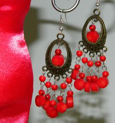 Blood stone coral earring. Buy Now http://www.etsy.com/listing/113000776/blood-stone-coral-earring for only $13