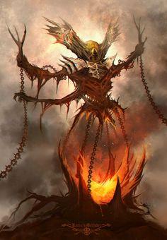 Brokhm by Ramses Melendez on ArtStation. Fantasy Demon, Fantasy Monster, Dark Fantasy, Fantasy Art, Mythological Creatures, Fantasy Creatures, Ramses, Cool Monsters, Art Area
