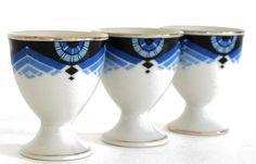 3 Vintage Art Deco EGGCUPS - Blue French Eggcups.