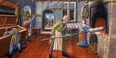 A baker at work, from a 15th century Franciscain Missel © Bibliothèque municipale de Lyon (Ms 514, f. 6v)
