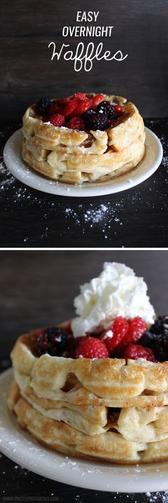No lie, these are hands down the best waffles I have EVER eaten. We make these all the time and they never get old! So easy, too. // Yum, must try!