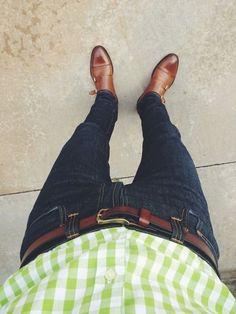 lime color shirt men with denim & monk strap shoes — Men's Fashion Blog - #TheUnstitchd