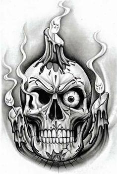 Skull Hand Tattoo, Skeleton Tattoos, Skull Tattoo Design, Tattoo Design Drawings, Skull Tattoos, Tattoo Sketches, Body Art Tattoos, Evil Skull Tattoo, Cool Skull Drawings