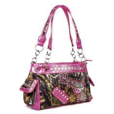 Handbags, Bling & More! Western One Pistol Gun Pink Camouflage Rhinestone Purse : Camouflage Purses