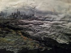Dunstanburgh Castle - Laura Edgar #textile art #embroidery #mixed media www.lauraedgar.co.uk