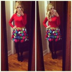 Diy tacky christmas party bow skirt and tinsel skirt h o l i d a y diy ugly christmas sweaterw skirt solutioingenieria Gallery