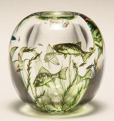 """Orrefors """"Fiskgraal"""" art glass vase designed by Edward Hald, 1961."""