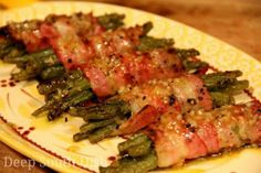 Greenbeans wrapped in bacon. Yum!!