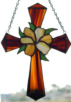 Stained Glass Cross and  Peachy White Lilly by glassnwood on Etsy