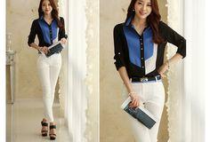Casual Blouse Shirt for Women. Blue & Black Designer Clothing Classical Chiffon Shirt