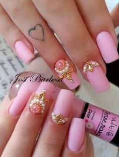 As melhores unhas com esmalte fosco ou matte Glam Nails, Bling Nails, Manicure And Pedicure, Cute Nails, Pretty Nails, Perfect Nails, Gorgeous Nails, Hair And Nails, My Nails
